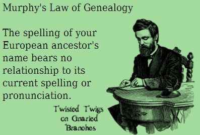 The spelling of your European ancestor's name bears no relationship to its current spelling or pronunciation.